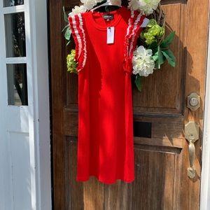 Red and White ruffle Sugar + Lips knit dress!
